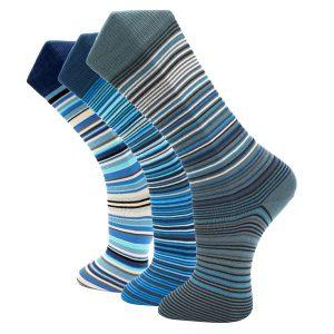 3Pack Blue striped effio socks