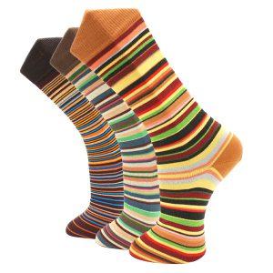 3Pack Brown striped effio socks